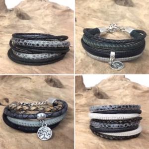 wikkelarmbanden en stoere leren armbanden verkrijgbaar bij handmade by sjiek